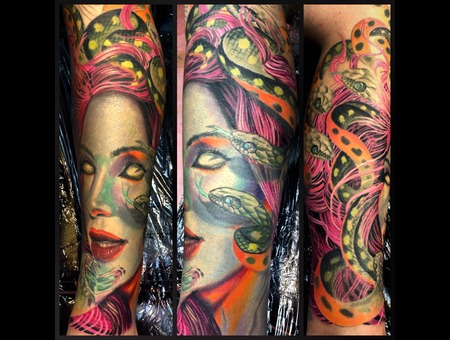 Medusa  Color Tattoo  Color  Portrait  Snakes  Hawaii Lower Leg