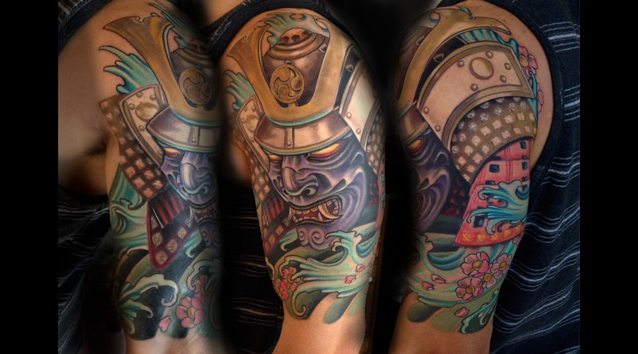 Samurai  Japanese  Warrior  Color  Tattoo  Hawaii Arm