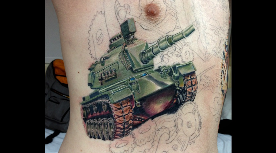 Tank  Tattoo  Color  Realism Ribs