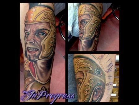 Centurion  Rome  Trojan  Portait  Tattoo Forearm