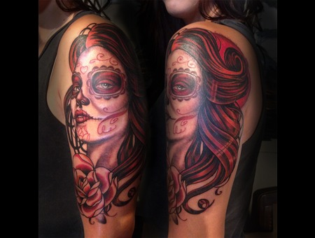 Dia Del Muerto  Tattoo  Portrait  Woman  Girl  Hawaii Arm