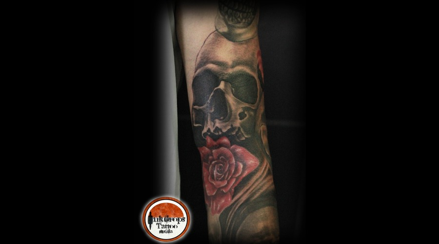 Skull   Roses   In Progress  Arm