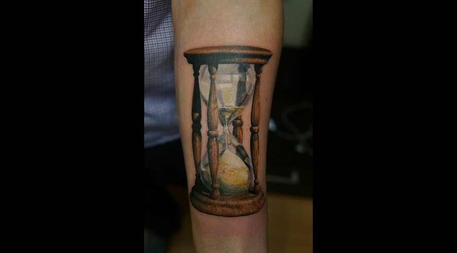 Hourglass  Realistic  Realism  Tattoo Color Forearm