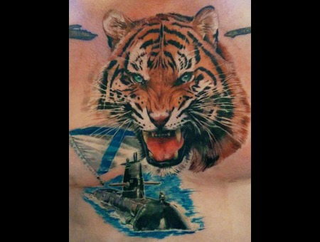 Vmf Tiger  Realistic  Realism  Tattoo Color Chest