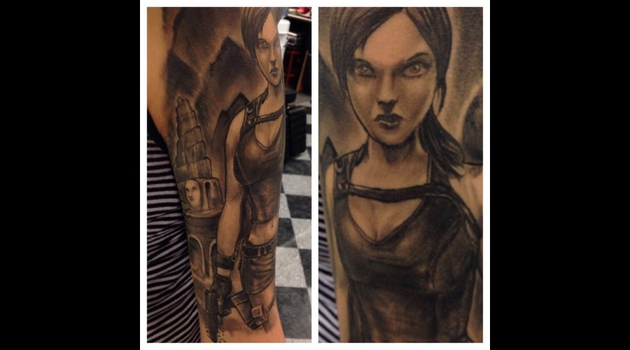 Lara Croft  Gamer Tattoo Arm