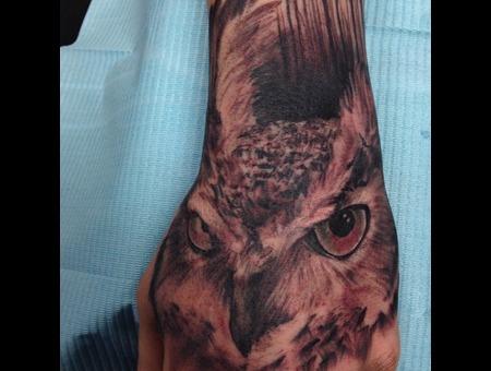 Owl  Hand Tattoo Forearm