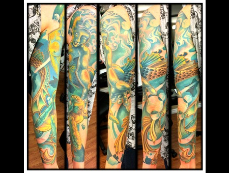 Sleeve  Mermaid  Realistic  New Skool  Water  Under Water  Fish  Woman Arm