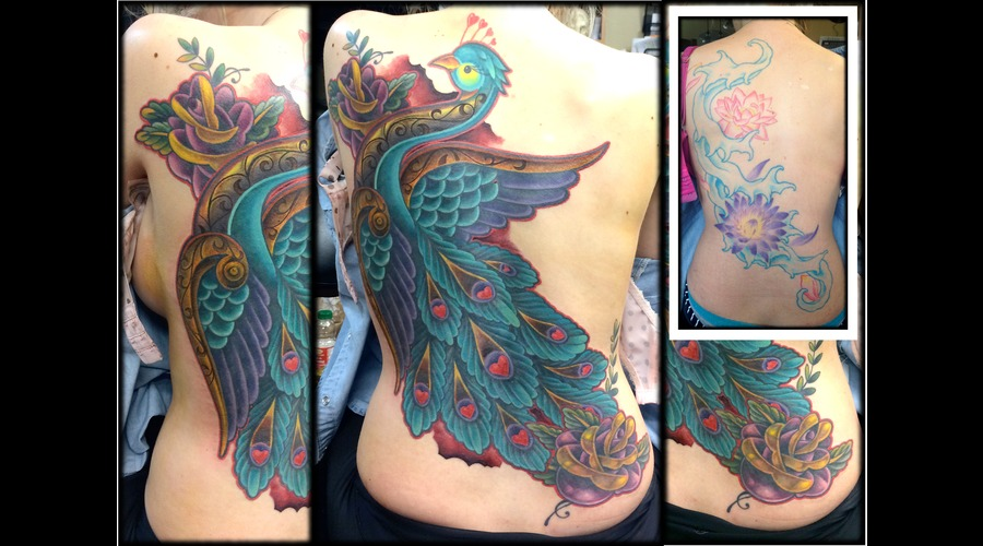 Peacock  Feather  Bird  Traditional  Neo Traditional  Old School  Cover Up Back