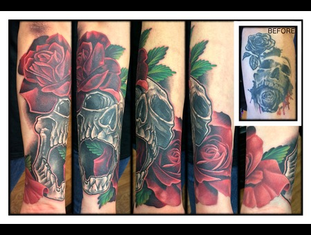 Cover Up  Skull  Rose  Roses  New Skool  Realistic Forearm
