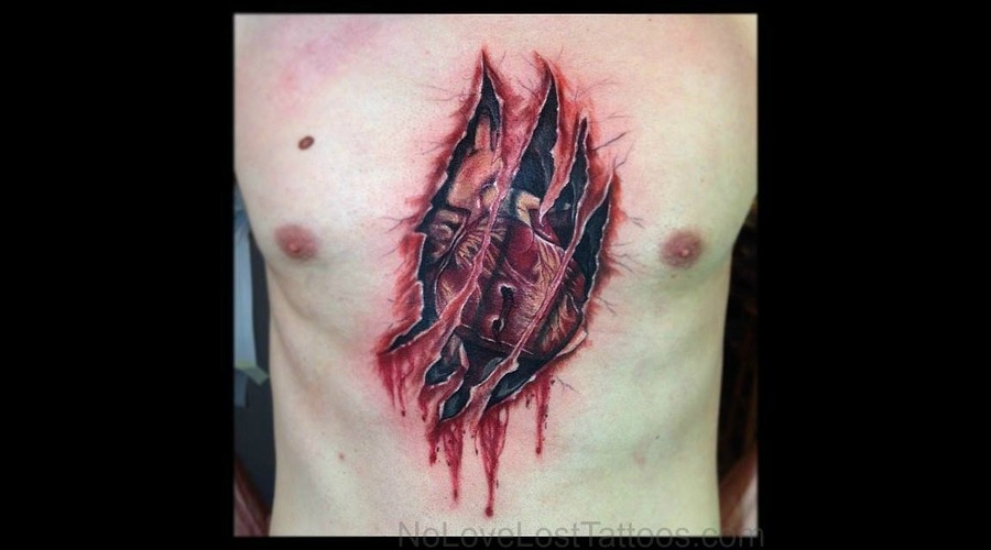 3 D  Heart  Ribs  Bleeding Chest