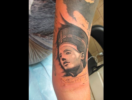 Statue Portrait Realism Egyptian  Black Grey Arm