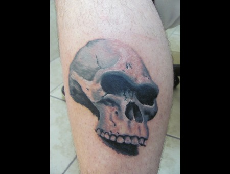 Skull Tattoo Black Grey Realism Black Grey Lower Leg