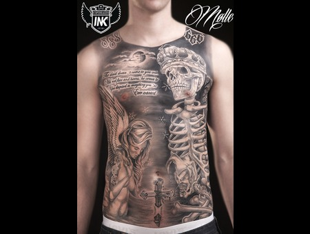 Skull  Angel  Evil  God  Front  Horror Black Grey Chest