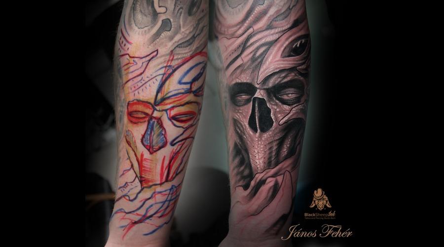 Freehand Skull Forearm