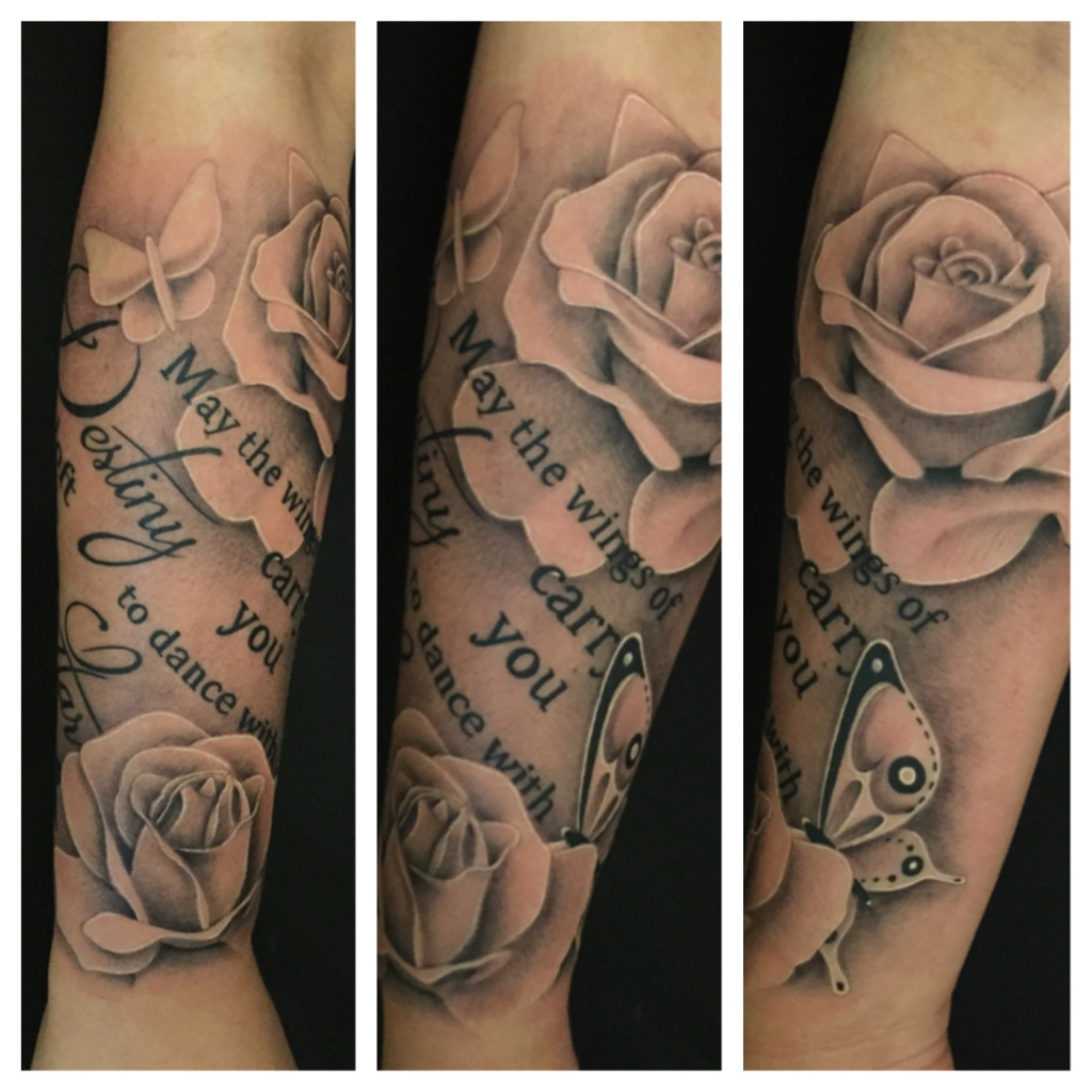 Clock forearm black rose sleeve tattoo - Rose Roses Flowers Script Realism Photo Realism