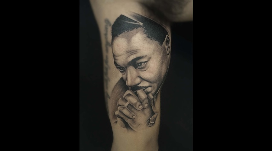 Mlk  Portrait  Photo Realism  Realism  Black & Grey  Realistic Tattoo