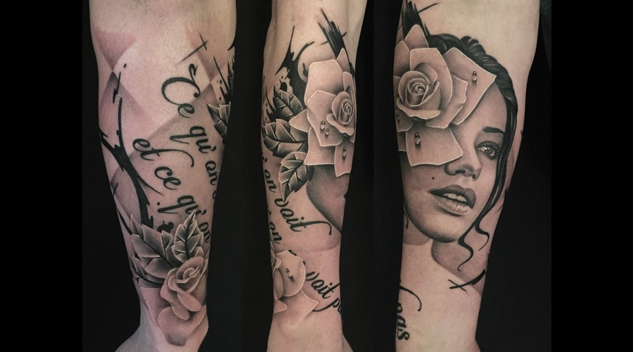 Girl  Portrait  Rose  Realism  Photo Realism  Black & Grey Tattoo