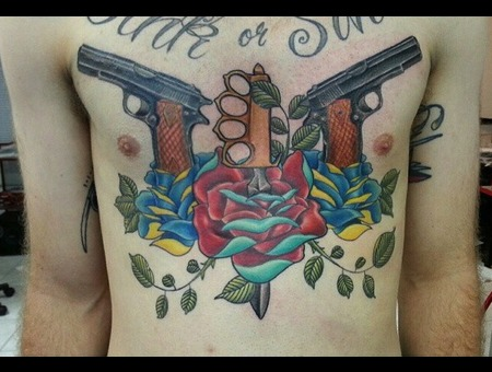 Neotraditional  New School  Color  Chest Piece  Roses  Guns  Hawaii Chest