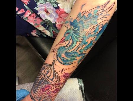 Bird  Tattoo  Trash  Art  Watercolor Forearm