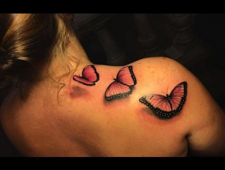 Realistic  Tattoo  Realism  Art  Butterfly Shoulder