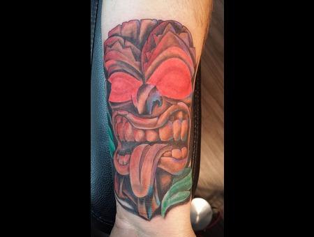 Tiki Man Tattoo Forearm