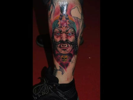 Dracula Horror Tattoo Transilvania Lower Leg