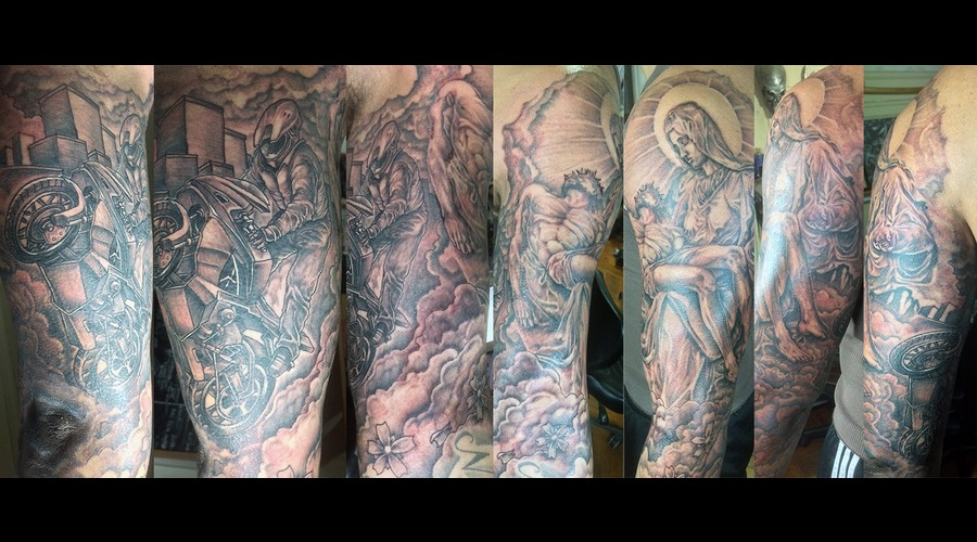 Motorcycle Jesus Black Grey Arm
