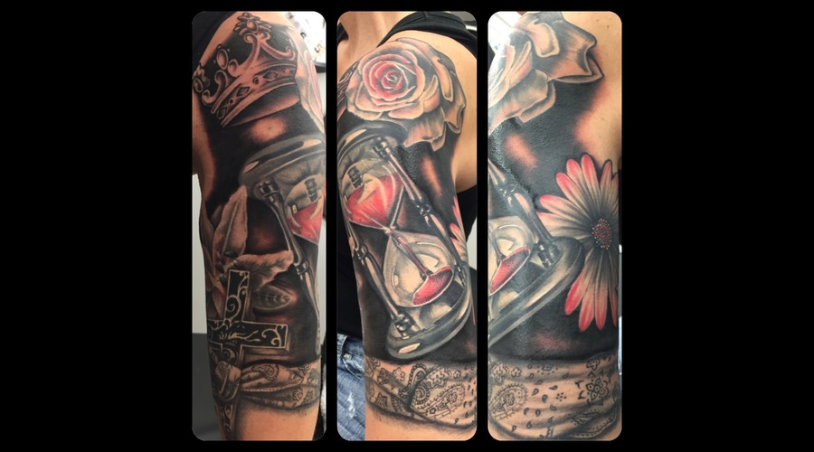 Sleeve  Bandana  Black And Grey  Realism  Canada Arm