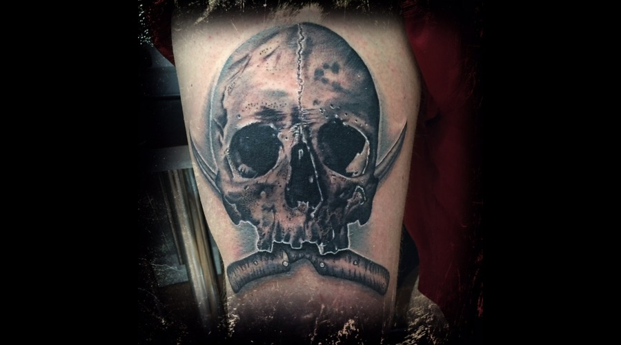 Skull  Boning Knives  Realism  Opaque Grey  Black And Grey  Ontario  Canada Thigh