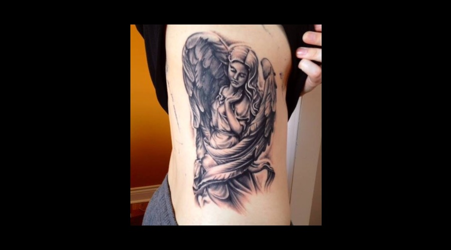 Angel  Black And Grey  Realism  Portrait  Statue  Sudbury  Ontario Ribs