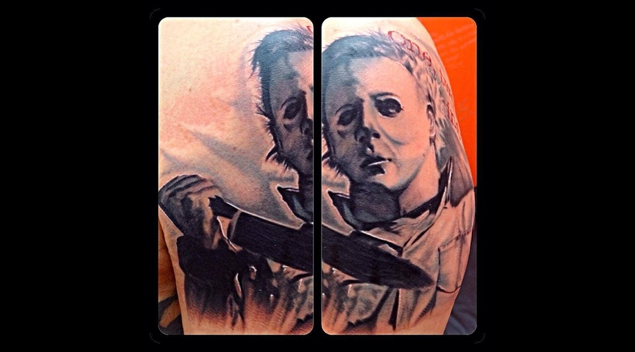 Sleeve  Michael Myers  Halloween  Black And Grey  Portrait  Realism Arm