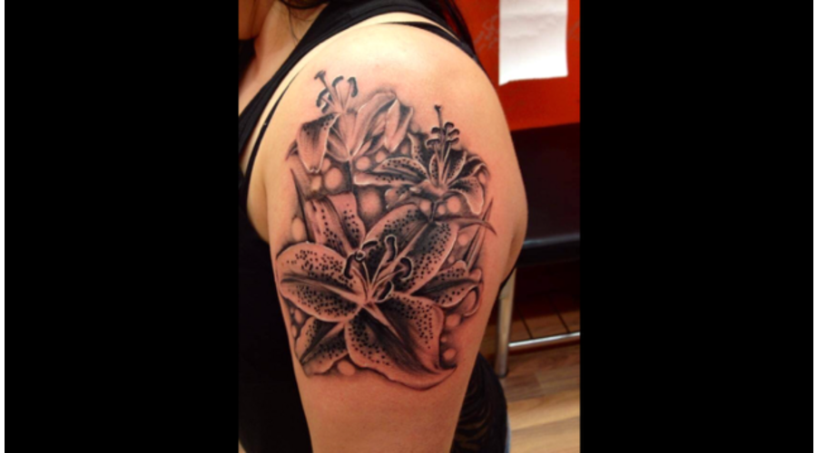 Black And Grey  Realism  Flowers  Lilies  Lily   Arm