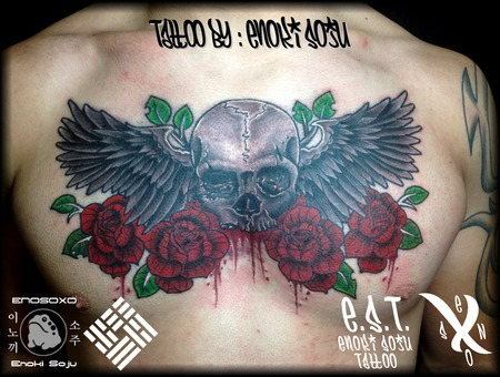 Skull  Roses  Flowers  Wings Black Grey Chest