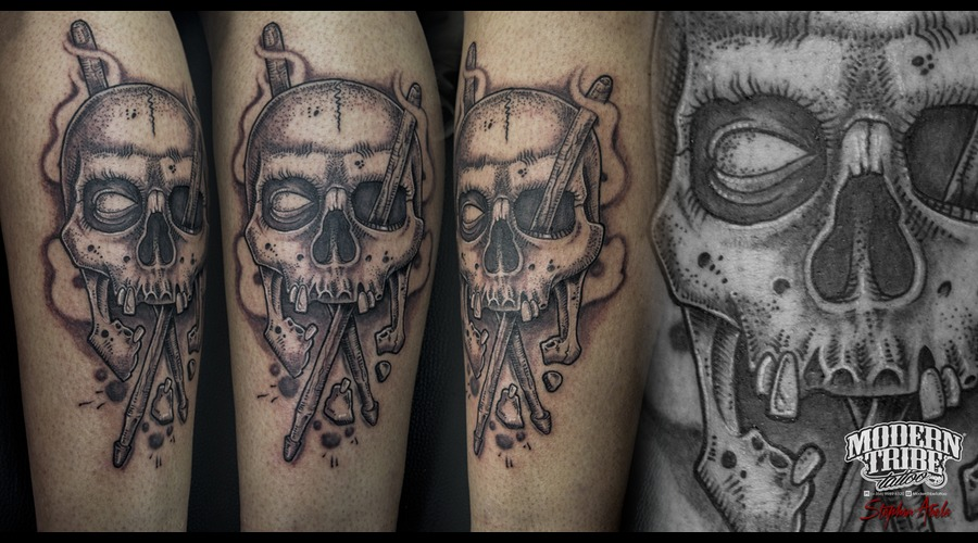 Skull  Drum Sticks On Leg Lower Leg