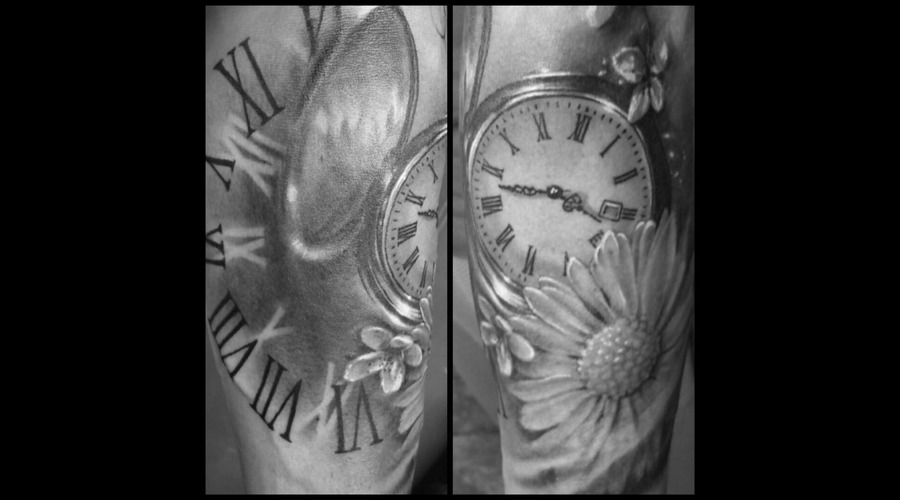 Pocket Watch  Memorial  Realistic  Black And Grey Forearm