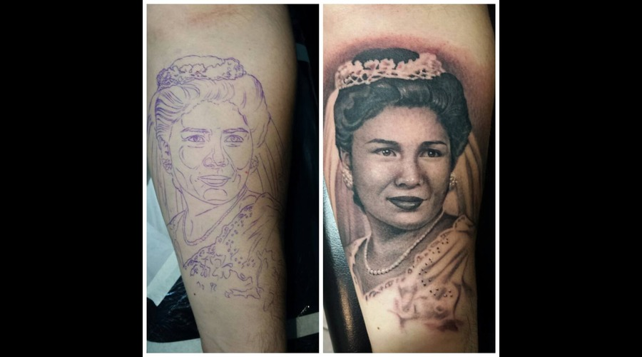 Portrait  Realistic  Black And Grey  Memorial Forearm