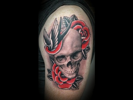 Realistic  Traditional  Black And Grey  Skull  Roses Arm