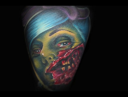 Zombie  Zombie Girl  Color Tattoo Arm