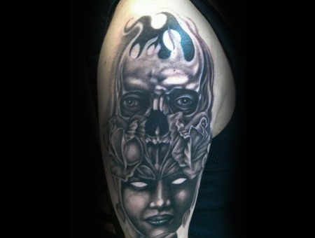 Black And Grey  Skull  Woman  Evil  Dead  Portrait Arm