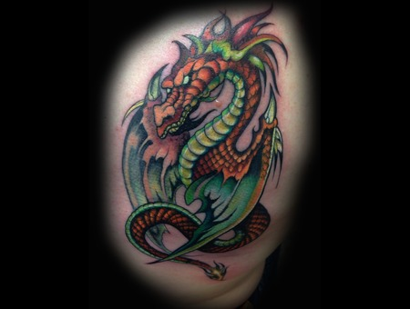 Dragon  Dragons  Color Tattoo Arm