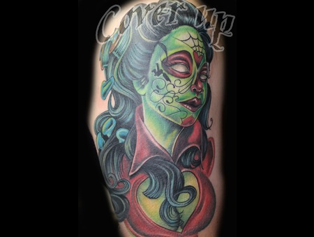 Cover Up  Day Of The Dead  Sugar Skull  Color Tattoo  Woman  Dead  Zombie   Arm