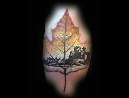 Vancouver  Canada  Canadian  Leaf  Leaves  Color Tattoo  Detail Lower Leg