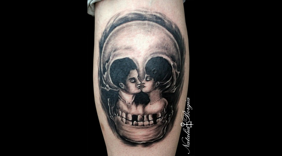 Skull  Ilussion  Lovers  Couple  Kiss  Love Lower Leg