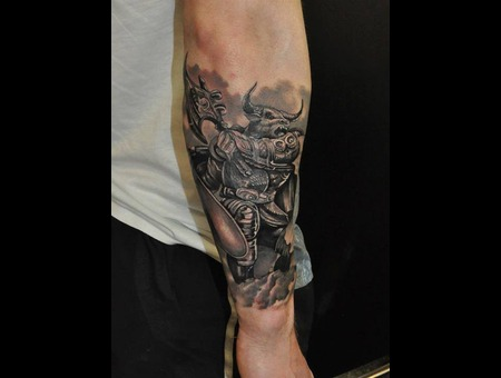 Minotaur Tattoo Black & Gray Forearm