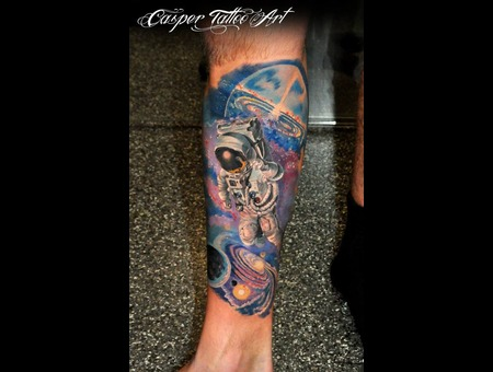 Color Space Tattoo Astronaut  Lower Leg