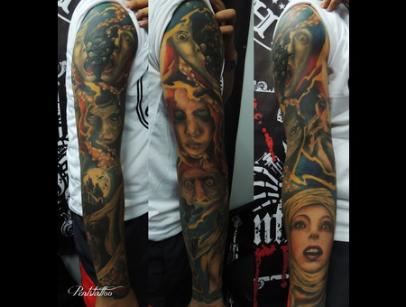 Tattoo  Full Arm Sleeve  Dark Images  Portrait