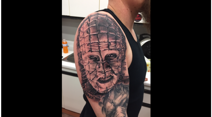 Black And Grey  Pinhead  Realism  Hellraiser  Portrait  Sleeve Arm