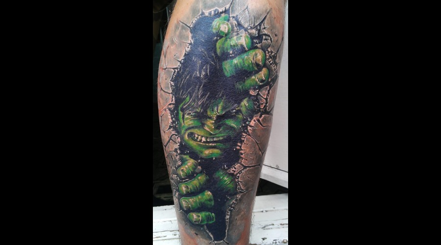 Hulk  Movie  Realistic  Realism  Tattoo Color Lower Leg