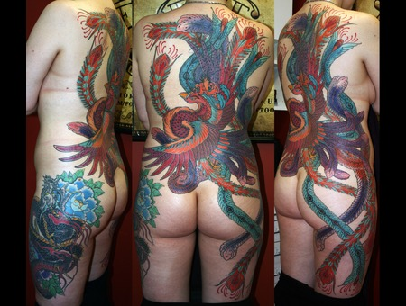 Fenix Back Piece  Dragon  Peony Color