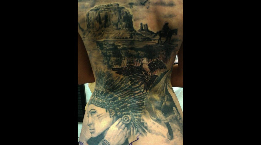 Cover  Indian  Horse  Mountain  Canyon  Bird  Girl  Realistic  Tattoo Black Grey Back